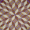 Optical illusion needlepoint detail close up of a pillow stitched by cathy decker in yellow and purple pearl cotton thread Stock Photography