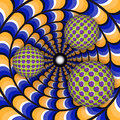 Optical illusion of rotation of three ball around of a moving hole abstract background Stock Photos