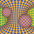 Optical illusion of rotation of two balls around of a moving hyperboloid.