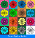 Optical illusions circles abstract colorful geometric seamless pattern background with this is vector illustration ideal for web Stock Images