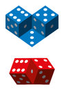 Optical illusions with dice geometrical illusion blue and red illustration on white background Royalty Free Stock Photography