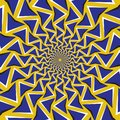 Optical motion illusion background. Blue arrows revolve circularly around the center on yellow background Royalty Free Stock Photo