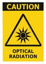Optical radiation hazard caution safety danger warning text sign sticker label, artificial light beam icon symbol, isolated black Royalty Free Stock Photo