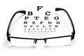 Optical test eye glass with chart on white background Royalty Free Stock Photo