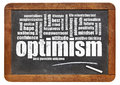 Optimism word cloud on blackboard a vintage slate isolated white Royalty Free Stock Photography