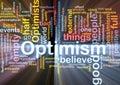 Optimism word cloud glowing Royalty Free Stock Photo