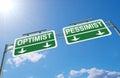 Optimist or pessimist concept. Royalty Free Stock Photo