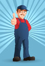Optimistic handy man illustration of an thumb up Royalty Free Stock Photography