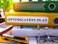 Optimization Plan on Yellow Office Folder. Toned Image. 3D.