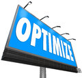 Optimize Word Billboard Perfect Revising Optimization Search Cap Royalty Free Stock Photo