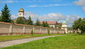 Optina monastery wall with towers vvedensky Royalty Free Stock Photos