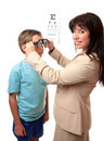 Optometrist with child Royalty Free Stock Photo