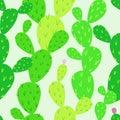 Opuntia cactus seamless pattern. Endless cactus. Desert flora.
