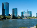 Oracle campus in redwood city with the recently installed sailboat winner of the america cup Stock Photography