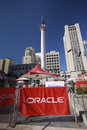 Oracle OpenWorld conference zone at Union Square Royalty Free Stock Photography