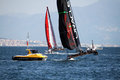 Oracle team in action during the america s cup world series in naples in italy Royalty Free Stock Images