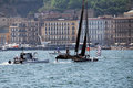 Oracle winner team wins the first fleet race of the second day of america s cup world series at naples in italy Stock Photo