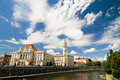 Oradea city hall near crisul repede Stock Photo
