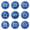 Oraganizer web icons, blue circle buttons series Stock Images