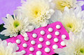 Oral contraceptive pills colorful strips Stock Photo