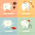 Oral hygiene banners with cute tooth brushing flossing and rinsing vector illustration Royalty Free Stock Images