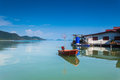 Orang boat on sea in thailand at bangbao Royalty Free Stock Photo