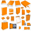 Orange 3d blank cover collection Royalty Free Stock Photos