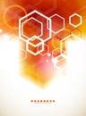 Orange abstract blurred hexagon background