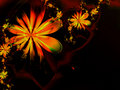 Orange Abstract Fractal Flower Background Stock Photo