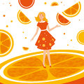 Orange abstract fruit design with Stock Images