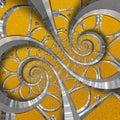 Orange abstract round spiral background pattern fractal. Silver metal spiral orange decorative ornament element. Metal texture Royalty Free Stock Photo