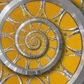 Orange abstract round spiral background pattern fractal. Silver metal spiral orange decorative ornament element. Metal decor Royalty Free Stock Photo
