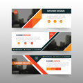Orange abstract triangle corporate business banner template, horizontal advertising business banner layout template flat design