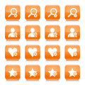 Orange additional sign square icon web button
