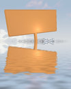 Orange advertisement board set in water ground Stock Photography