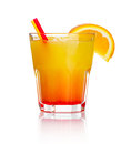 Orange alcohol cocktail with orange fruit slice Stock Photography