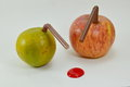Orange and apple stab by straw and liquid red dot a Royalty Free Stock Photo