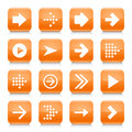 Orange arrow sign rounded square icon web button Royalty Free Stock Photo