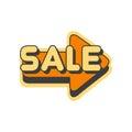 Orange arrow with text Sale vector Illustration