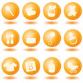 Orange baby icons Royalty Free Stock Photo