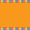 Orange background with colorful crayon border Royalty Free Stock Photo