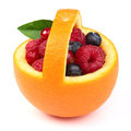 Orange basket with berry Royalty Free Stock Images