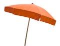 Orange beach umbrella isolated on white Royalty Free Stock Photo