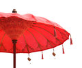 Orange beach umbrella umbrella on Isolated on white background Royalty Free Stock Photo