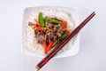 Orange beef stir fry over white rice Royalty Free Stock Photo