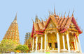 Orange Bhuddist Pagoda Temples And Church In Thailand Travel Place Royalty Free Stock Photo