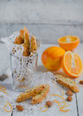 Orange biscotti Arkivfoton