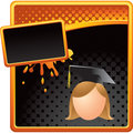 Orange and black ad with cartoon graduate girl Royalty Free Stock Photos