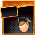 Orange and black halftone male graduate Stock Image