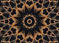 Orange black kaleidoscope pattern abstract background. Circle pattern. Abstract fractal kaleidoscope background. Wooden wheel abst Royalty Free Stock Photo